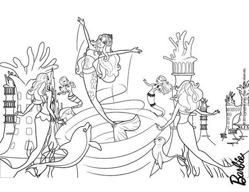 Coloriage barbie et le secret des sirenes calissa et les sirenes - Dessin de barbie sirene ...