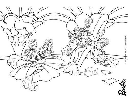 Coloriage barbie et le secret des sirenes la reine calissa - Dessin barbie sirene ...