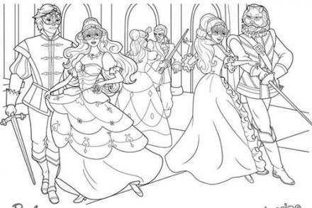 Coloriages-Barbie-et-les-3-Mousquetaires-Coloriage-dAramina-Corinne-et-Renee-au-bal-masque-avec-les-mousquetaires.jpg