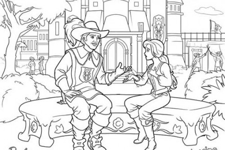 Coloriages-Barbie-et-les-3-Mousquetaires-Coloriage-de-Barbie-en-discussion-avec-un-mousquetaire.jpg