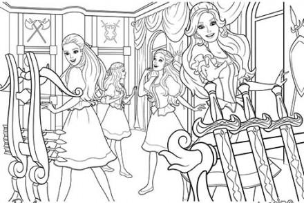 Coloriages-Barbie-et-les-3-Mousquetaires-Coloriage-de-Barbie-et-ses-amies-dans-la-salle-des-armes.jpg