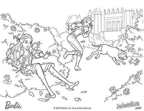 Coloriage barbie et les 3 mousquetaires coloriage de la chute de corinne dans les rosiers - Barbie et les mousquetaires ...