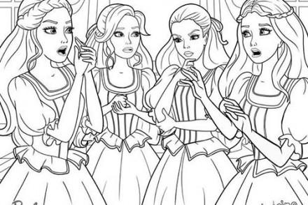 Coloriages-Barbie-et-les-3-Mousquetaires-Coloriage-des-quatre-amies-qui-se-concertent.jpg