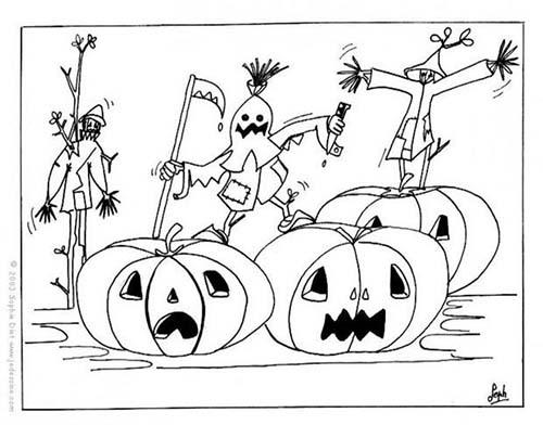 Coloriage citrouilles halloween coloriage des epouvantails et des citrouilles - Citrouille halloween a colorier ...