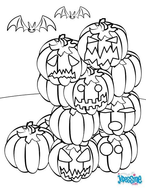 Coloriage citrouilles halloween montagne de citrouilles - Dessin de citrouille halloween ...