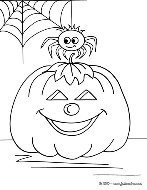 coloriage citrouilles halloween citrouille et araignee a. Black Bedroom Furniture Sets. Home Design Ideas