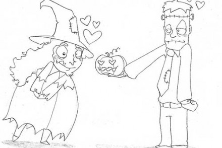 Coloriages-Enfants-deguises-pour-Halloween-Coloriage-de-la-declaration-damour-de-Frankenstein.jpg