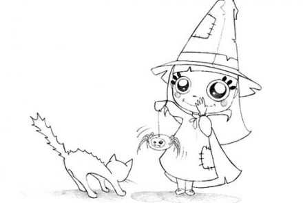 Coloriages-Enfants-deguises-pour-Halloween-La-petite-sorciere-et-son-chat.jpg
