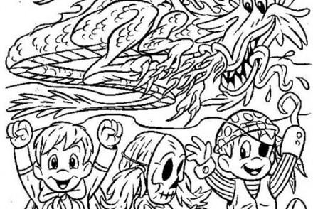Coloriages-Enfants-deguises-pour-Halloween-Les-enfants-et-le-dragon.jpg