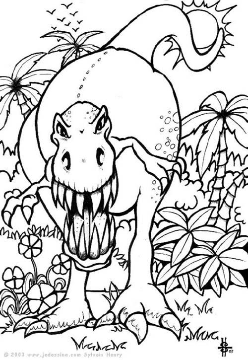 Coloriage de dinosaures t rex effrayant for Planificateur facile en ligne gratuit