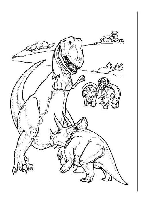 Coloriages-de-Dinosaures-Triceratops-contre-T-Rex.jpg