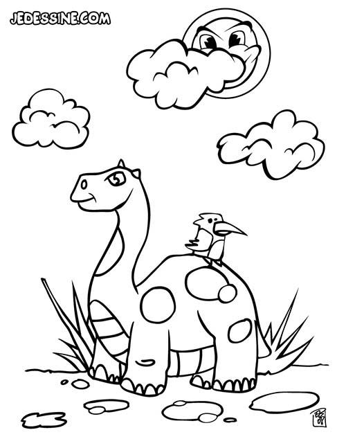 Coloriages-de-Dinosaures-Un-dinosaure-et-un-oiseau.jpg