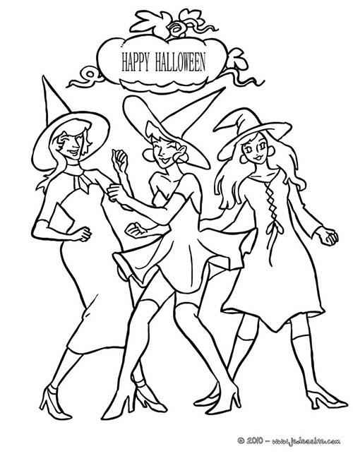 Coloriage de sorcieres d 39 halloween coloriage danse des - Princesse qui danse ...