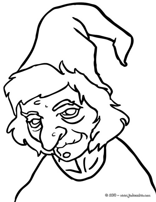 how to draw a witch face easy