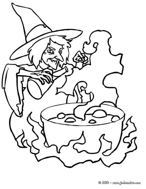 halloween coloring pages black and white - coloriage de sorcieres d 39 halloween potion malefique a colorier