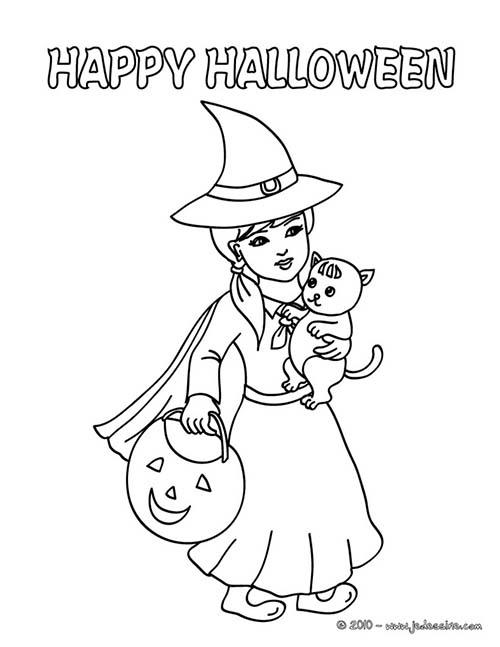 Coloriage de sorcieres d 39 halloween sorciere et son chat a - Dessin sorciere halloween ...