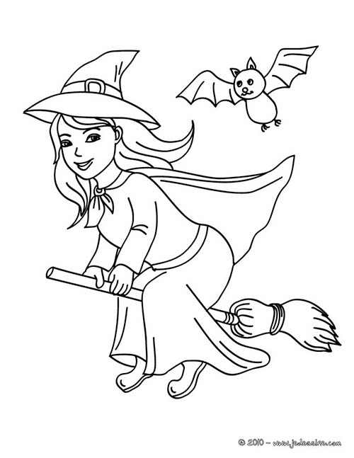 Coloriage de sorcieres d 39 halloween sorciere sur son balai - Coloriage balai ...