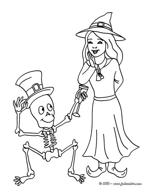 Coloriage de sorcieres d 39 halloween squelette et sorciere a - Coloriage squelette halloween ...