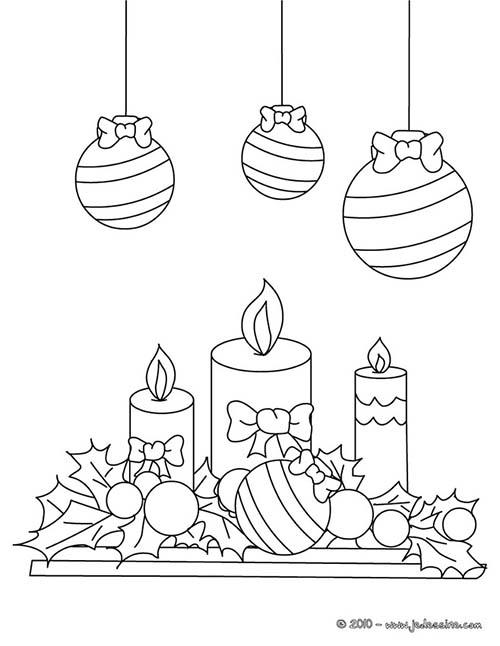 Coloriage de decorations de noel boules houx et bougies a - Boules de noel a colorier et imprimer ...