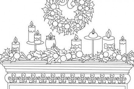 Coloriage de decorations de noel coloriage bougie et houx for Decoration de noel dessin