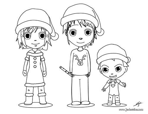 Coloriage des enfants de noel coloriage d 39 ana mat et teo - Coloriage enfant noel ...