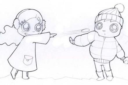 Coloriages-des-enfants-de-Noel-La-bataille-de-boules-de-neige.jpg