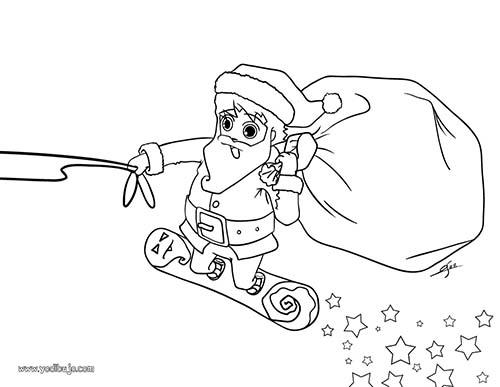 Coloriage Du Pere Noel Coloriage Du Pere Noel Sur Un Surf