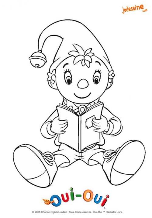 coloriage colorier le personnage de oui oui coloriage de oui oui qui lit un livre. Black Bedroom Furniture Sets. Home Design Ideas