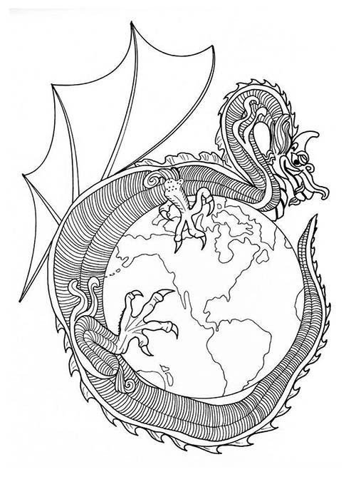 Coloriage mandalas de dragons a colorier coloriage du dragon de feu - Mandala de dragon ...