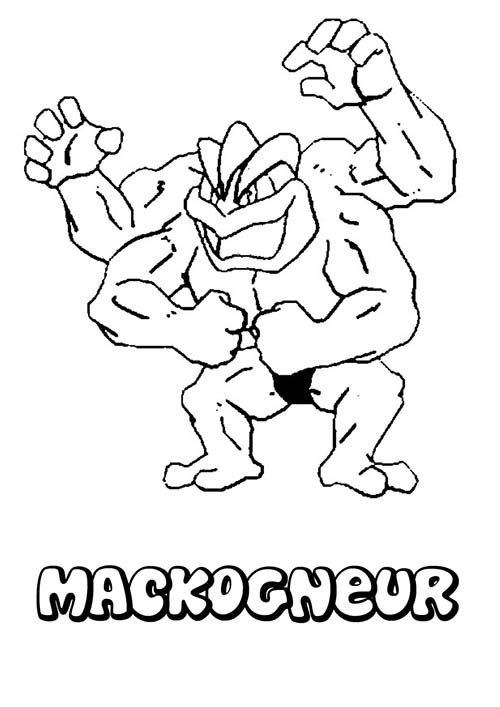 Coloriage dessin a imprimer du pokemon machopeur - Coloriage carte pokemon ...